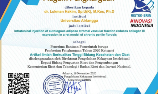 Piagam Penghargaan RISTEK-BRIN dr. Lukman Hakim, Sp.U (K), MARS, Ph.D